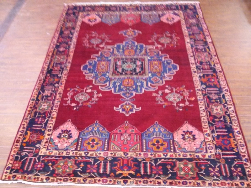 7x10 Handmade Persian Hamedan area rug