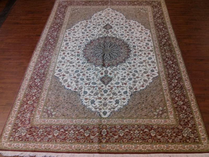 7x10 Handmade Persian Qum 100% Silk area rug