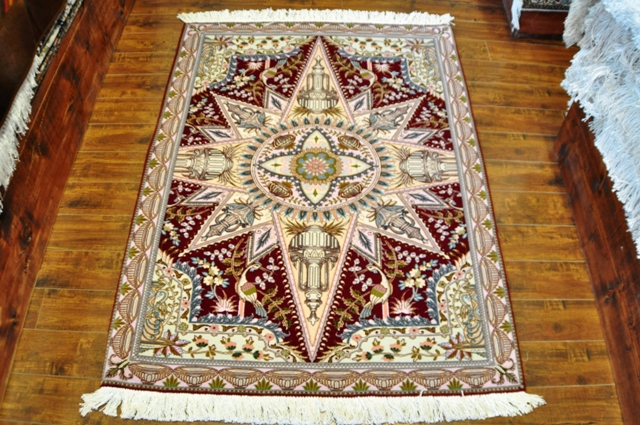 Tabriz 3x5 100% Silk and wool handmade Persian rug