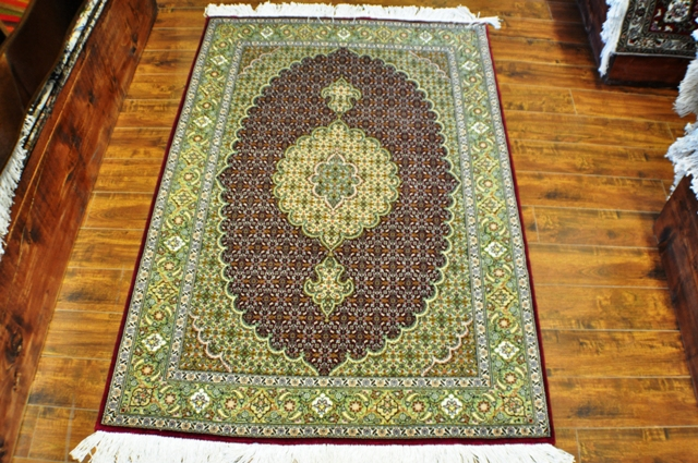 Tabriz Mahi 3x5 Silk and wool handmade Persian rug
